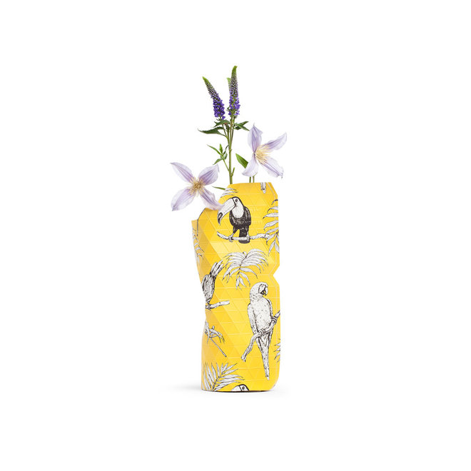 Paper Vase Cover SMALL Yellow Birds