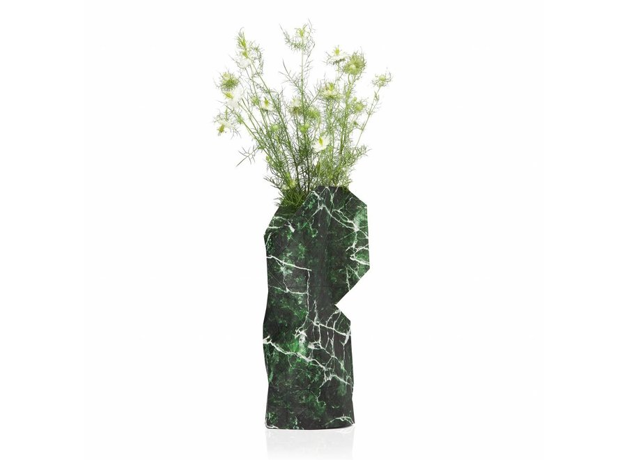 Paper Vase Cover Green Marble