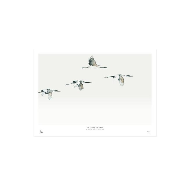 Art Print Cranes are flying