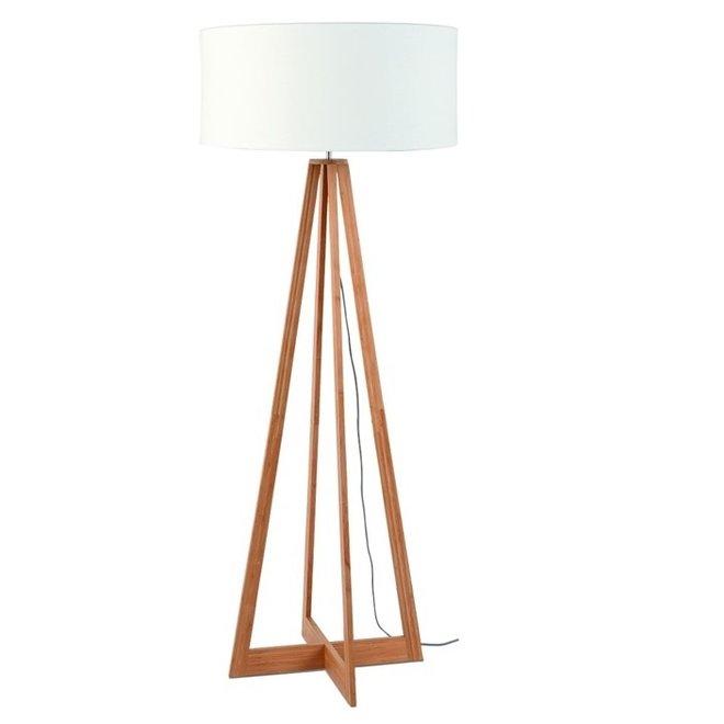 Vloerlamp Everest wit  bamboe