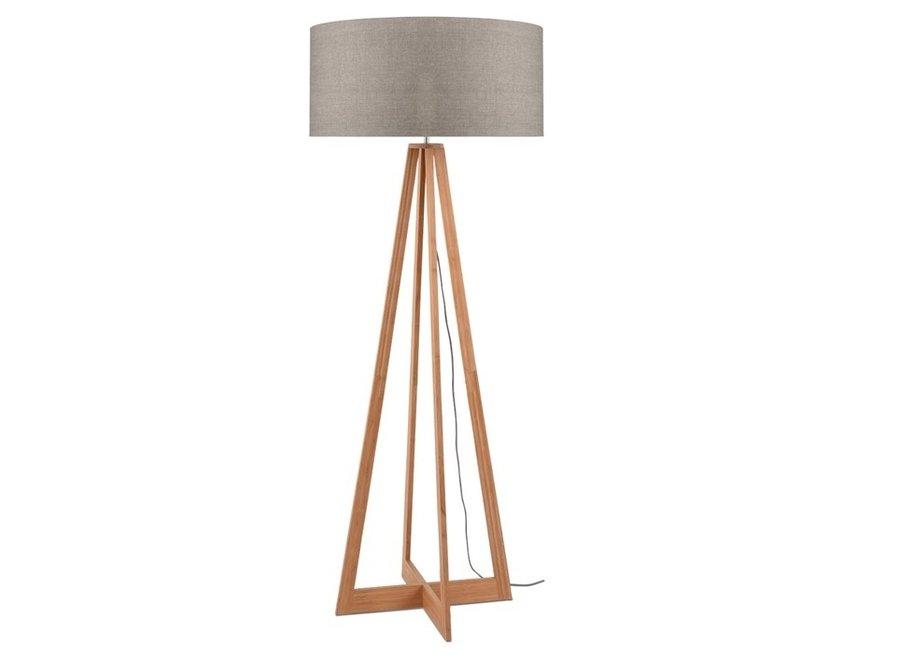 Vloerlamp Everest donker linnen  bamboe