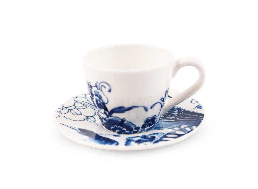 Royal Delft Peacock - Espresso/koffiekop & schotel