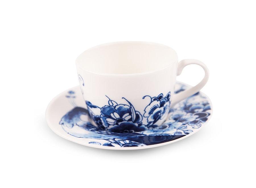Royal Delft Peacock - Thee-/cappuccinokop & schotel