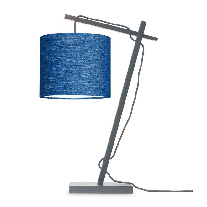 Tafellamp Andes - zwart/ kap blue denim