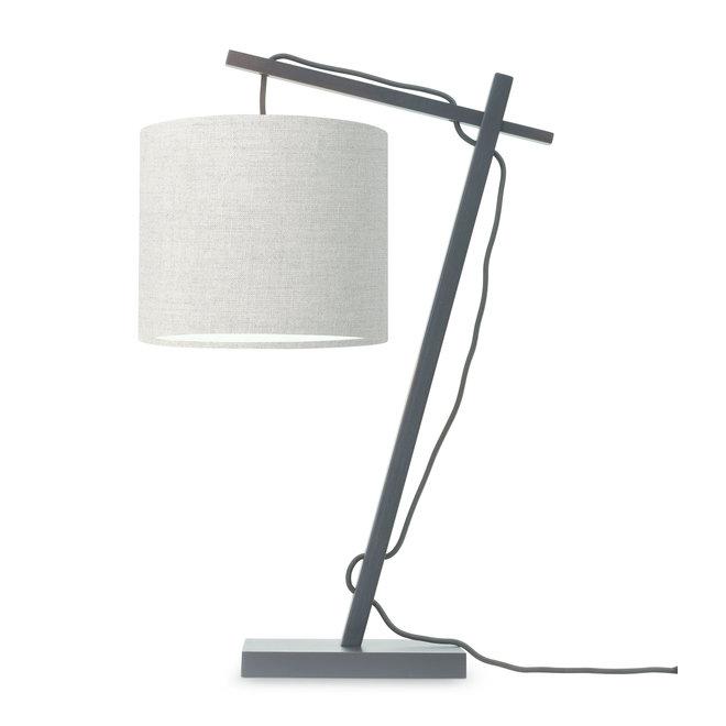 Tafellamp Andes - zwart/ kap donker linnen