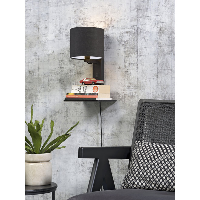 Wandlamp Andes  - zwarte plank/ kap donkergrijs