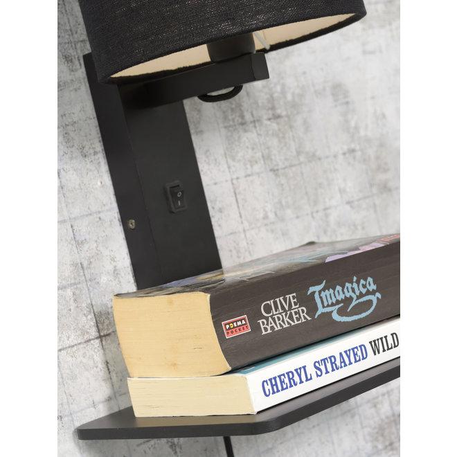 Wandlamp Andes  - zwarte plank/ kap donker linnen