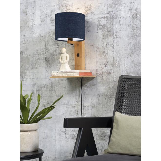 Wandlamp Andes  - naturel plank/ kap blue denim