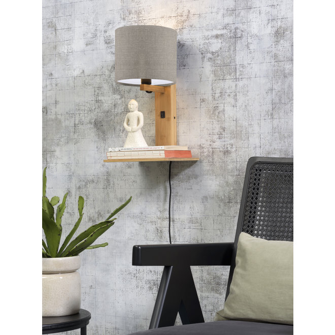 Wandlamp Andes  - naturel plank/ kap donker linnen