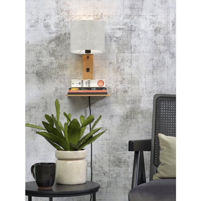 Wandlamp Andes  - naturel plank/ kap licht linnen