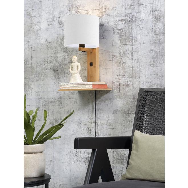 Wandlamp Andes  - naturel plank/ kap wit