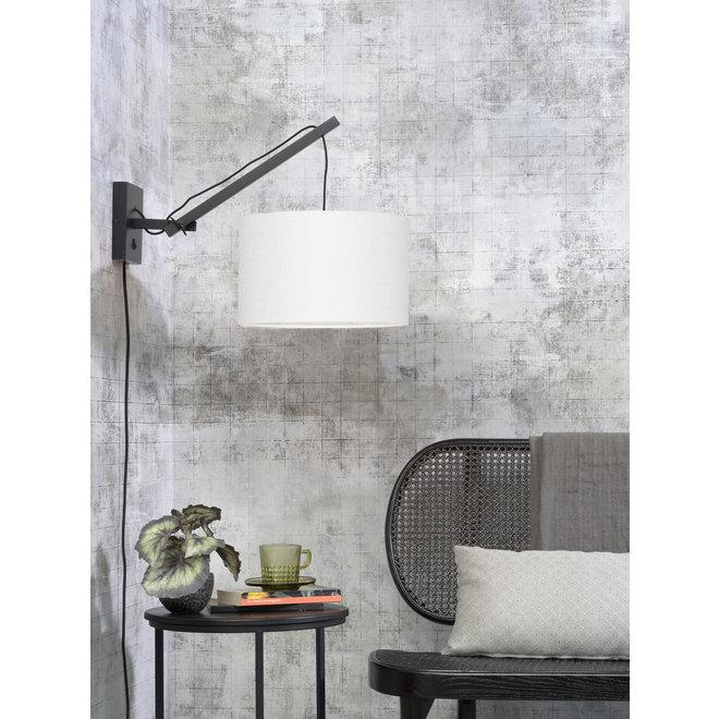 Wandlamp Andes - zwart/ kap wit SMALL