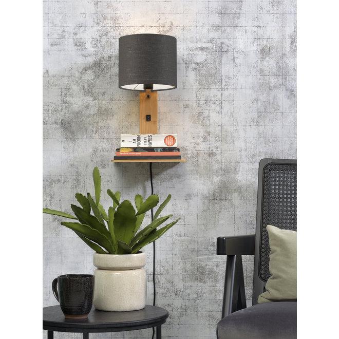 Wandlamp Andes  - naturel plank/ kap donkergrijs