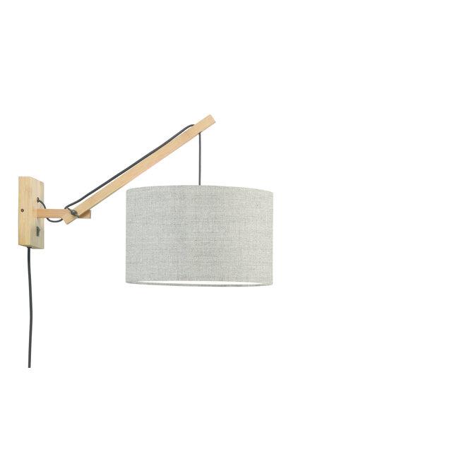 Wandlamp Andes - naturel/ kap donker linnen SMALL