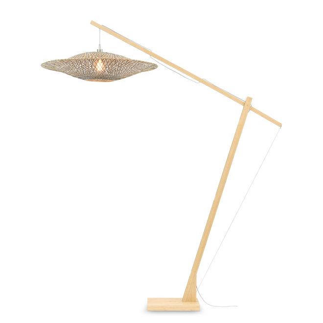 Vloerlamp Bali - naturel/ kap zwart-naturel LARGE