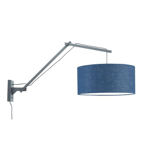Wandlamp Andes - zwart/ kap blue denim LARGE