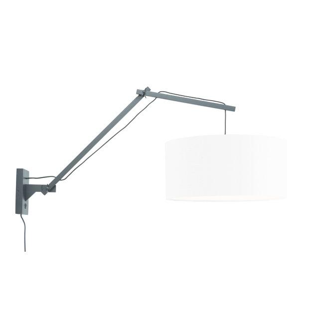 Wandlamp Andes - zwart/ kap wit LARGE