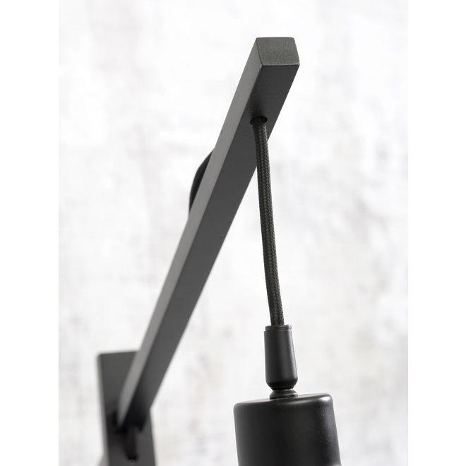 Vloerlamp Bhutan zwart/ kap zwart-naturel SMALL