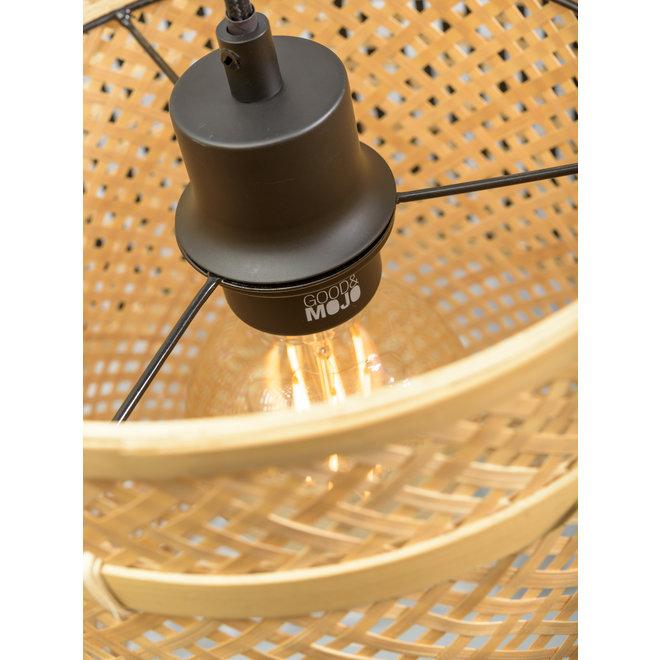 Vloerlamp Bhutan zwart/ kap zwart-naturel LARGE