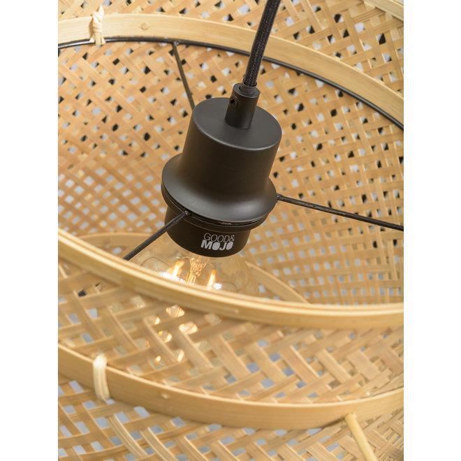 Wandlamp Bhutan zwart LARGE/ kap zwart-naturel SMALL