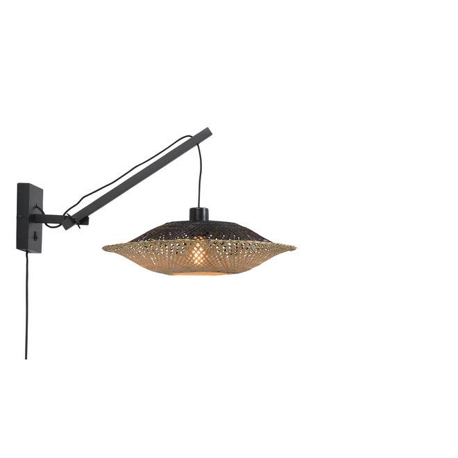 Wandlamp Kalimantan - zwevend zwart/kap zwart-naturel SMALL