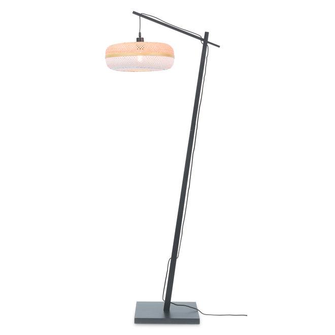 Vloerlamp Palawan - zwart/ naturel/wit SMALL
