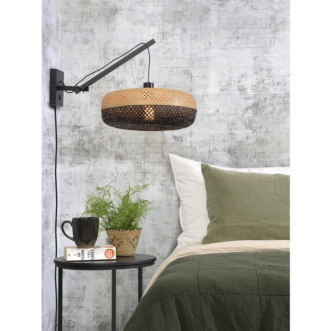 Wandlamp Palawan zwevend - zwart/ naturel-zwart SMALL