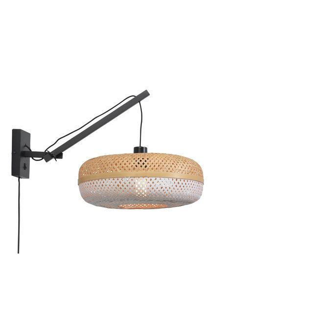 Wandlamp Palawan zwevend - zwart/ naturel-wit SMALL