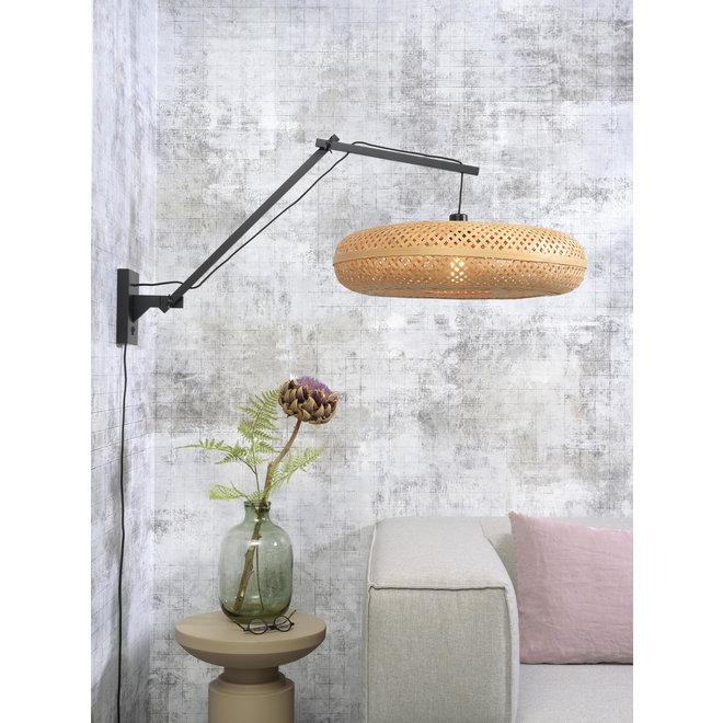 Wandlamp Palawan zwevend - zwart/ naturel LARGE