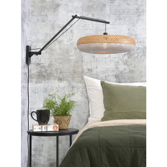 Wandlamp Palawan zwevend - zwart/ naturel-wit LARGE