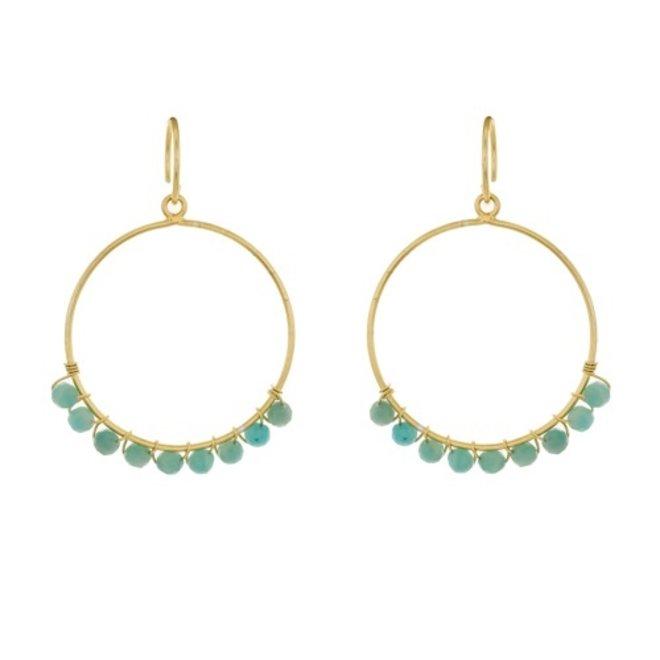 Muja juma - Oorbellen - Hoop with amazonite beads - Blue