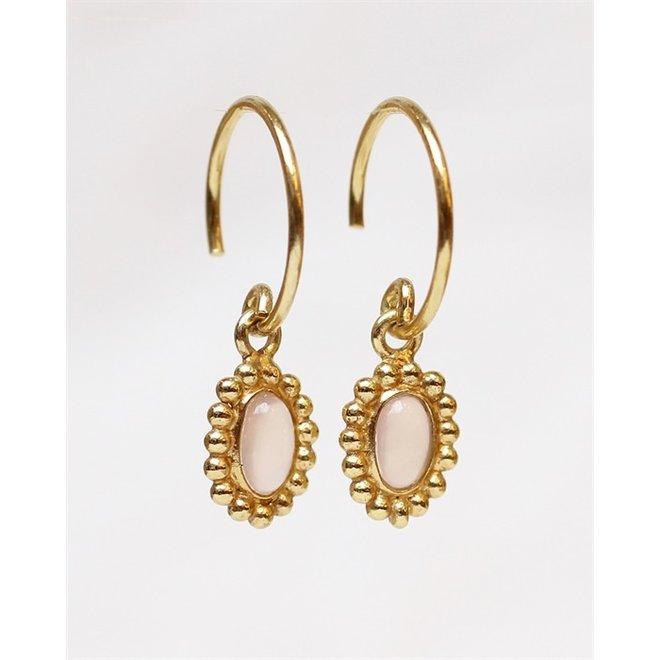 Muja juma - Oorbellen - F-earring - Oval pink chalcedony drops - Rose