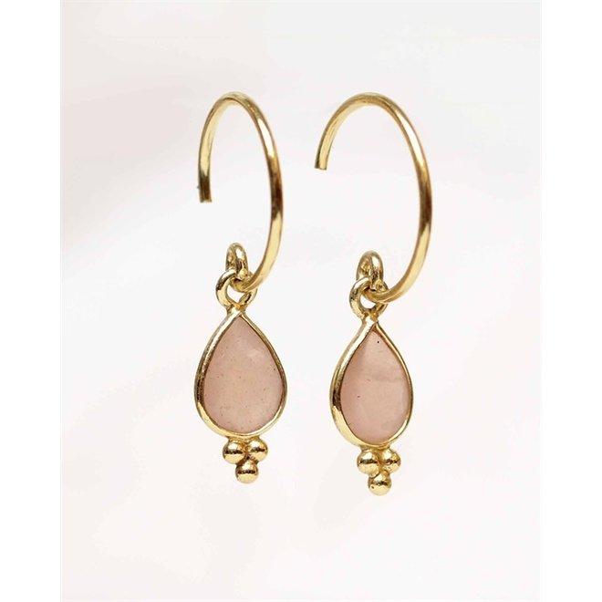 Muja juma - Oorbellen - E-earring drop 3 balls peach moonstone - Rose