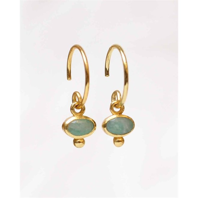 Muja juma - Oorbellen - E-earring hanging oval 5x3 amazonite - Green