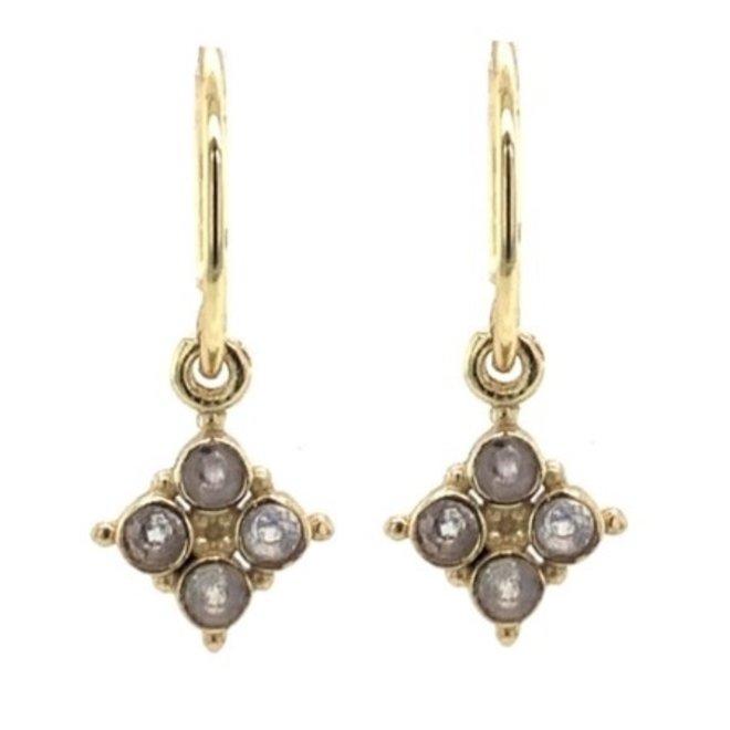 Muja juma - Oorbellen - E-earring four jasper stone - Grey
