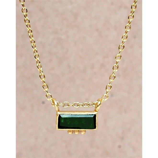 Muja juma - ketting - F-collier labradorite rectangle three dots 3x8-45cm - Green