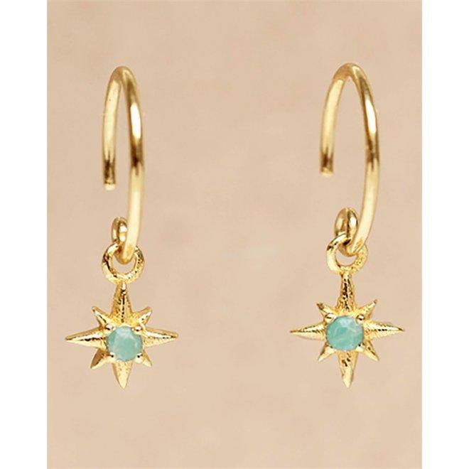 Muja juma - Oorbel  - D-earring hanging labrarodite star - Blue