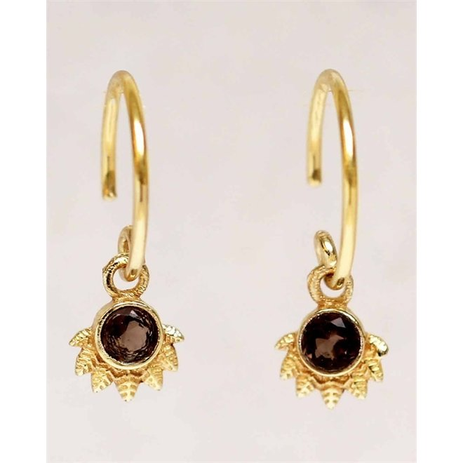 Muja juma - Oorbellen - E-earring hanging smokey quartz dot with crown - Brown