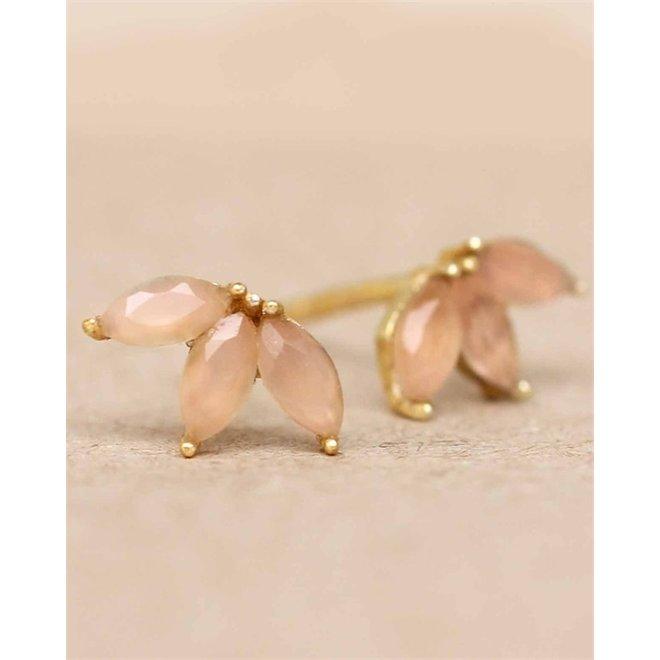 Muja juma - Oorbellen - E-earring labradorite three stones leave - Rose
