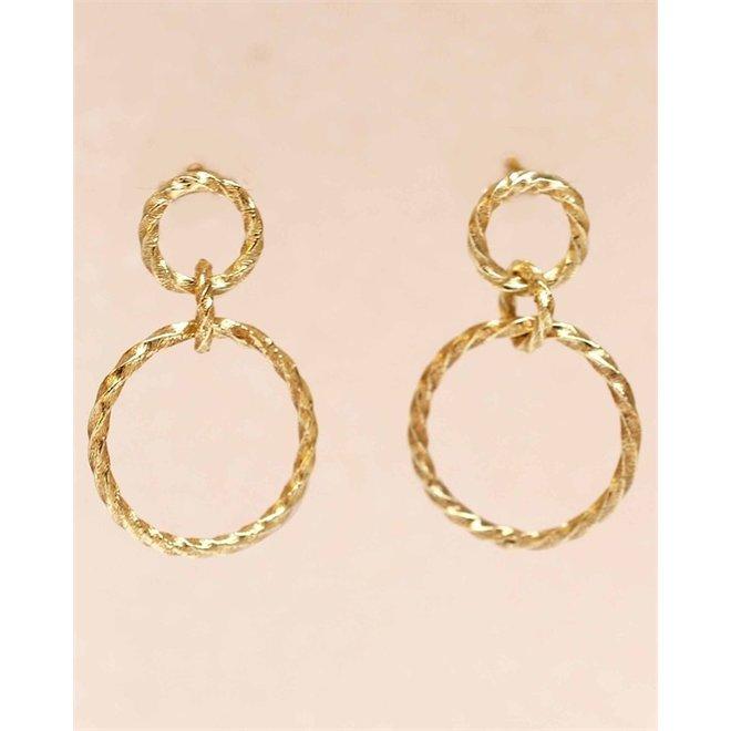 Muja juma - Oorbellen - E-earring hanging stud with hoops hammered