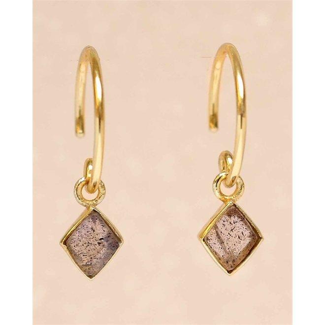 Muja juma- Oorbellen - D-earring hanging labradorite dimand - Grey