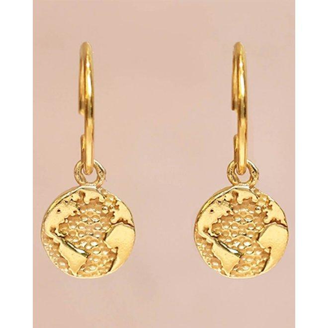 oorbellen - globe gold plated