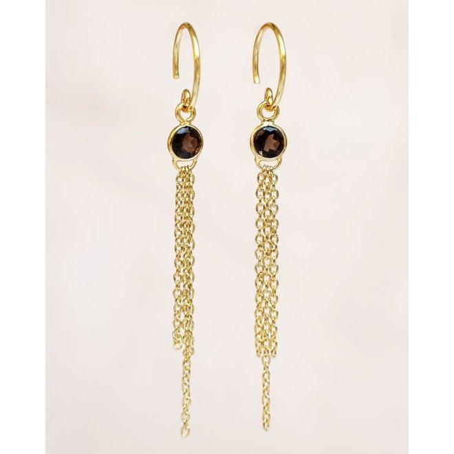 Muja Juma - oorbellen - hanging smokey quartz with strings gold plated