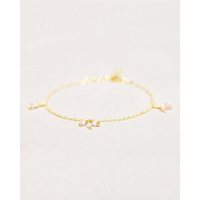 armband - peach moonstone 3x three beads gold plated