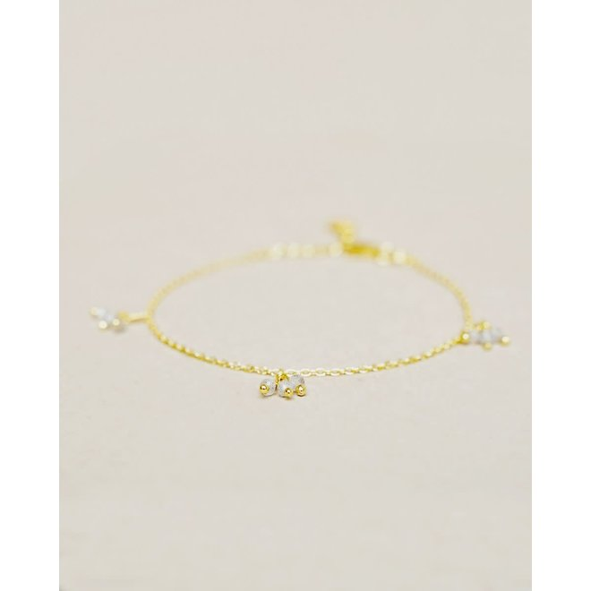 armband - labradorite 3x three beads gold plated
