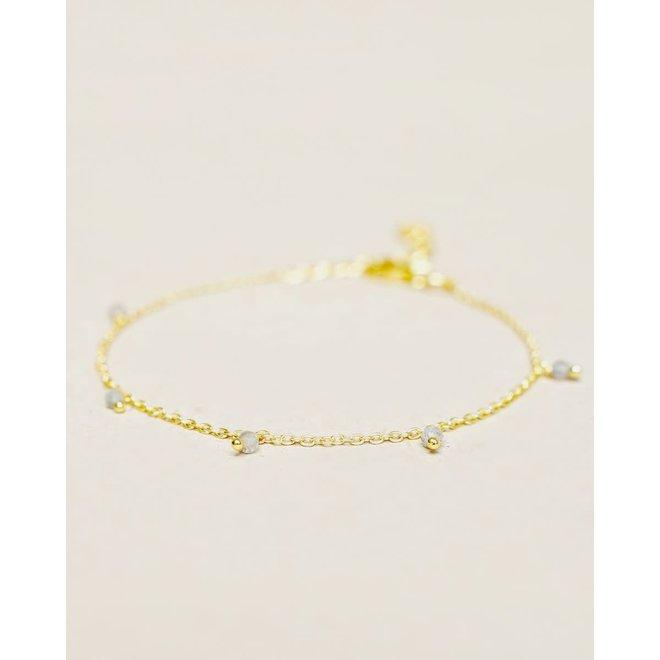 Muja Juma - armband - labradorite five beads gold plated