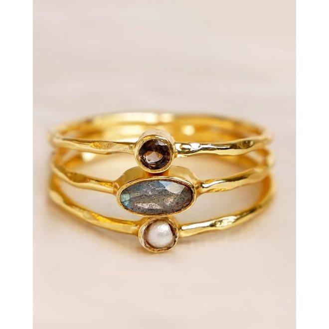 Muja Juma - ring - size 56 white pearl + labra. + citrine multi stones