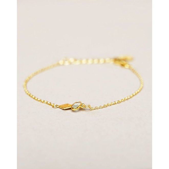 armband - prenite oval with diamond gold plated