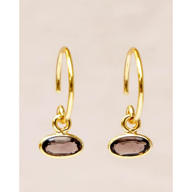 Muja Juma - oorbellen - hanging smokey quartz horizontal gold plated