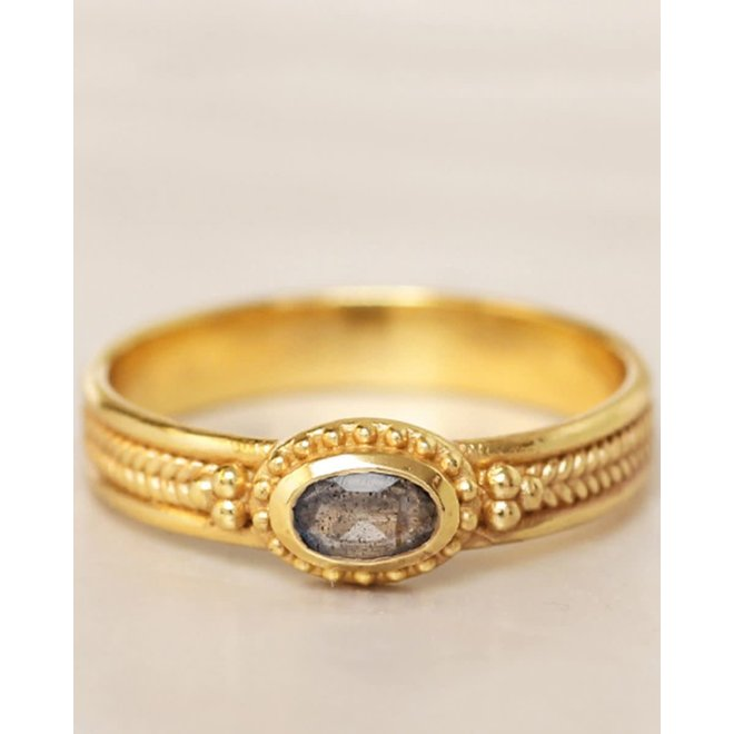 Muja Juma - ring - size 52 braid with dots labradorite gold plated